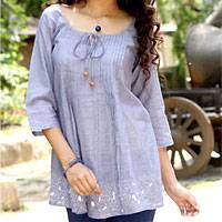 Cotton blouse, 'Casual Elegance'