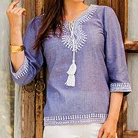 Cotton tunic, 'Dori Delight' - India Blue Cotton Chambray Tunic with Dori Embroidery