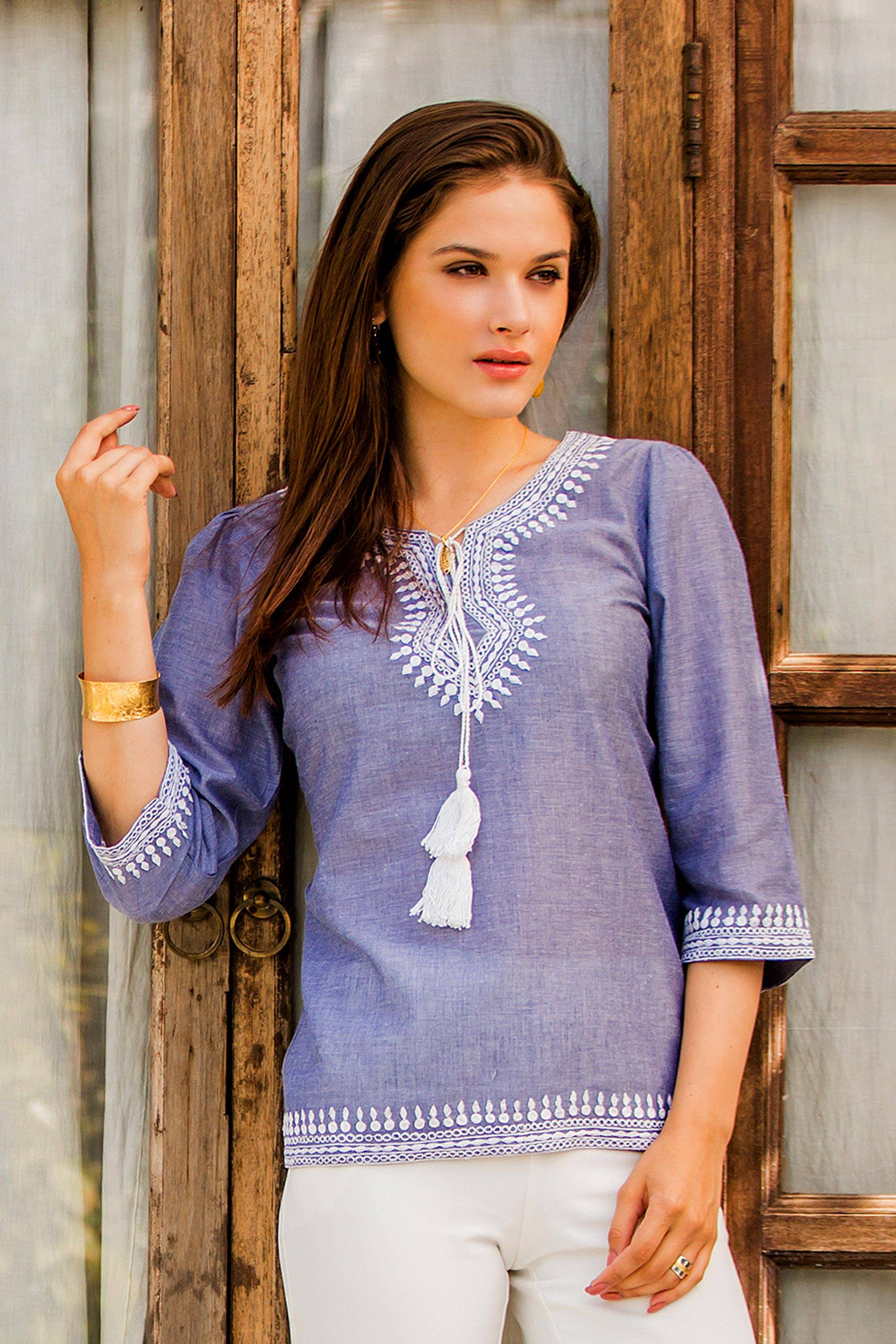 Indian Embroidered Tunics Tops Clothing for Women at NOVICA