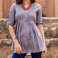 Cotton blouse, 'Everyday Chic' - India Blue Cotton Chambray Button Front Pleated Top