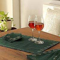 Cotton placemat and napkin set, 'Majestic Green' (set of 6)