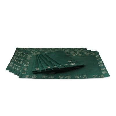 Cotton placemat and napkin set, 'Majestic Green' (set of 6) - Artisan Made Green Cotton Placemats and Napkins (Set of 6)