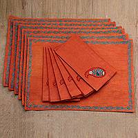 Cotton placemat and napkin set, 'Sunset Paisley' (set of 6) - Orange Cotton Paisley Napkin and Placemats (Set of 6)