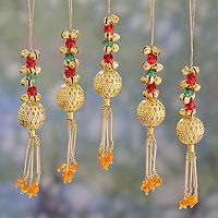 Beaded brass ornaments, 'Jingle Bells' (set of 5) - Set of 5 Handcrafted Beaded Brass Bell Christmas Ornaments