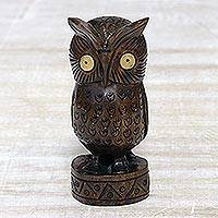 Wood statuette, 'Vigilant Owl' - Antiqued Wood Bird Statuette Carved by Hand in India