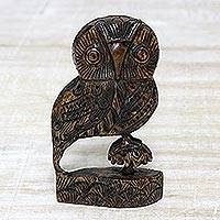 Wood statuette, 'Majestic Owl' - Bird Figurine Hand Carved Wood Sculpture from India