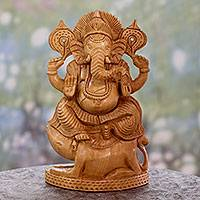 Wood statuette, 'Ganesha Lord of Knowledge'