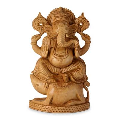 Wood statuette, 'Ganesha Lord of Knowledge' - Hinduism Lord on Mouse Hand Carved Wood Statuette