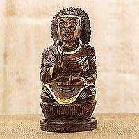 Wood statuette, 'Inspirational Buddha' - Hand Carved Wood Statuette from India Buddhism Art