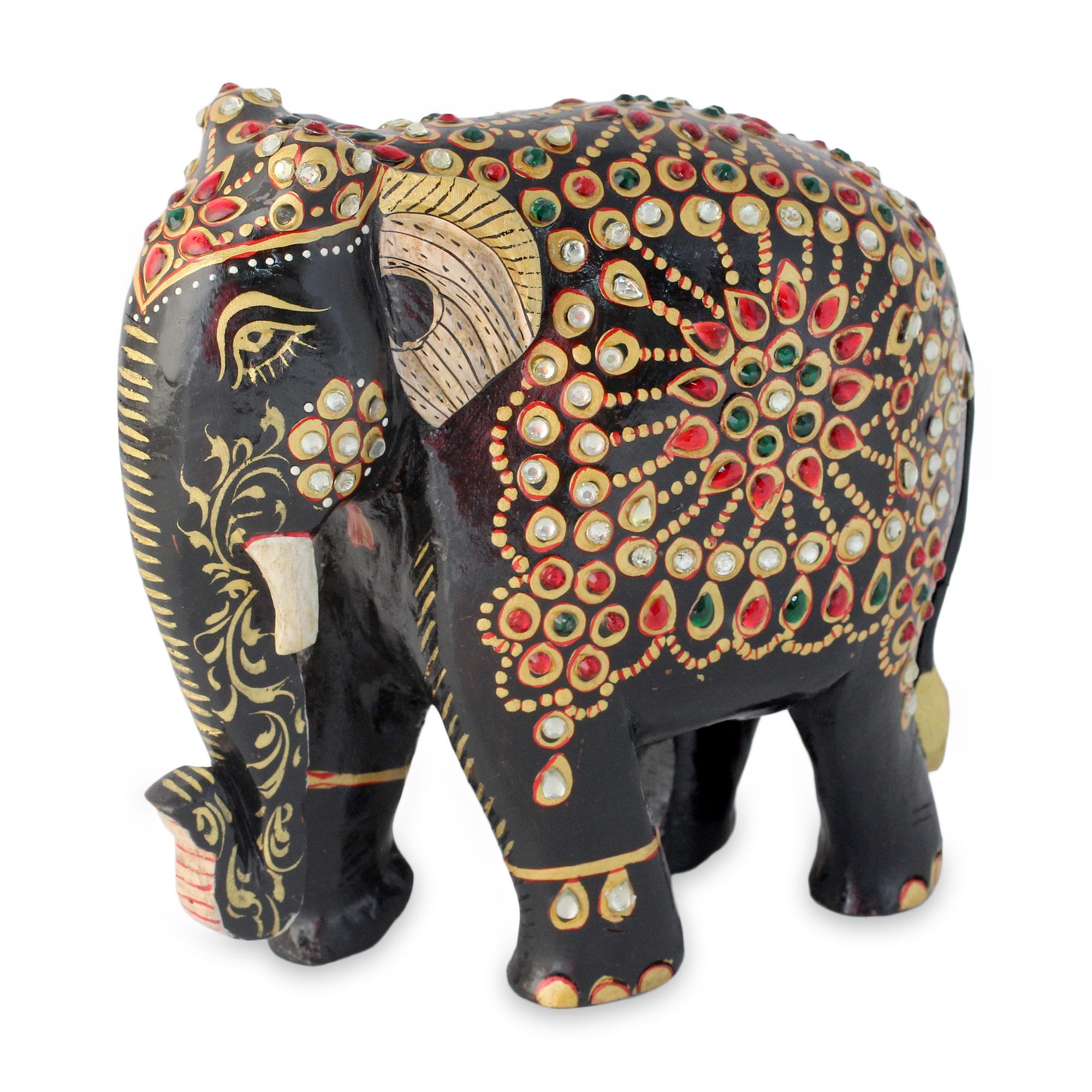 Unicef Uk Market Bejeweled Black Elephant Hand Crafted Sculpture From India Majestic Indian Elephant