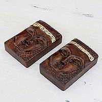 Wood paperweights, 'Buddhist Calm' (pair) - Buddha Wood Paperweights with Golden Accents (Pair)