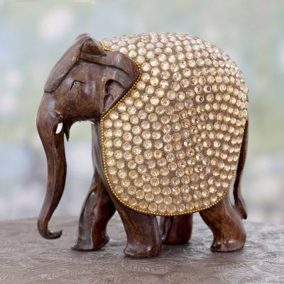 Wood statuette, 'Elephant Glitz' - Bejeweled Black Elephant Hand Crafted Statuette from India