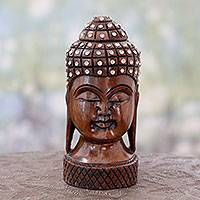 Wood statuette, 'Serene Buddha' - Indian Artisan Crafted Glistening Buddhism Wooden Sculpture