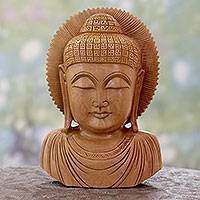Wood statuette, 'Peaceful Buddha' - Hand Carved Wood Statuette from India Buddhism Art