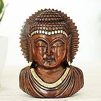 Wood sculpture, 'Peaceful Indian Buddha' - Vividly Hand Carved Wood Buddhist Antiqued Sculpture