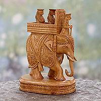 Wood sculpture, 'Royal Rajasthani Ride' - Royals on Elephant Wood Statuette Carved by Hand