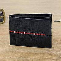 Men's leather wallet, 'Suave in Red'