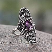 Amethyst cocktail ring, 'Starlight Love Expression' - Bollywood Amethyst and Oxidized Silver Cocktail Ring