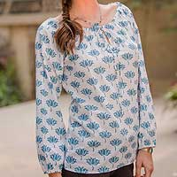 Cotton blouse, 'Blue Lotus'