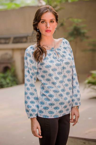 Cotton blouse, 'Blue Lotus' - Screen Print Cotton Blouse with Elasticized Neck and Cuffs