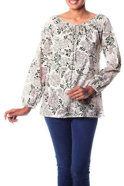 Cotton blouse, 'Earth Collection' - Screen Print Cotton Blouse with Elasticized Neck and Cuffs