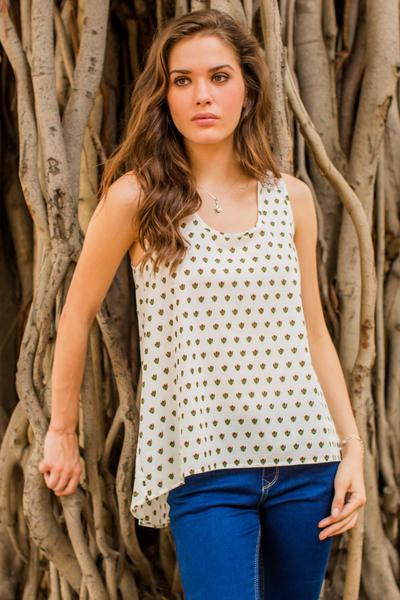 Cotton blouse, 'Geraniums' - Sleeveless Floral Print Cotton Blouse with High-Low Hem