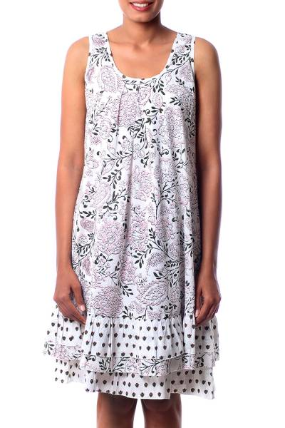 Cotton dress, 'Earth Collection' - Screen Print Cotton Tent Dress with Ruffled Hem