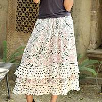 Cotton skirt, 'Earth Collection' - White Floral Screen Print Skirt with Ruffled Hem