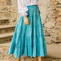 Cotton skirt, 'Sky Blue Frills' - Sky Blue Crinkle Cotton 5 Tier Skirt