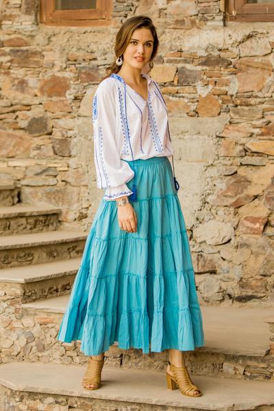 Cotton skirt, 'Sky Blue Frills' - Sky Blue Crinkle Cotton 5 Tier Skirt