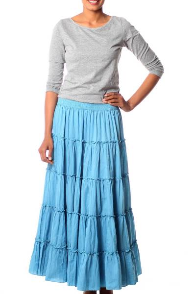 Sky Blue Crinkle Cotton 5 Tier Skirt