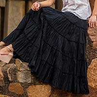 Cotton skirt, 'Midnight Frills' - Indian Handmade Long Black Ruffled Cotton Skirt