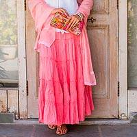 Cotton skirt, 'Strawberry Frills' - Rosy Pink Cotton Long Ruffled Skirt from India