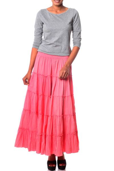 Rosy Pink Cotton Long Ruffled Skirt from India