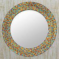 Glass mosaic wall mirror, 'Shimmering Leaves' - Multicolor Glass Mosaic Circular Wall Mirror from India