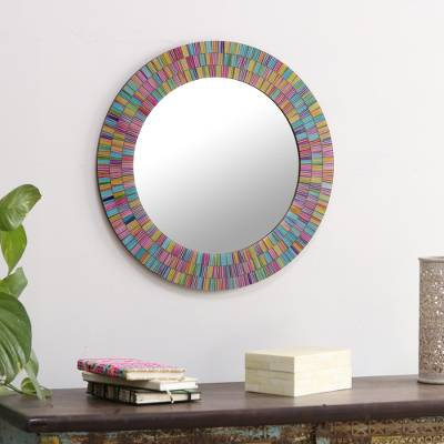 Glass mosaic mirror, Rainbow Halo