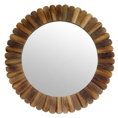 Bamboo wall mirror, 'Nature's Promise' - Fair Trade Round Wall Mirror Hand Crafted from Bamboo