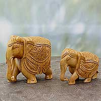 Wood sculptures, 'Parade in Jaipur' (pair) - India Artisan Crafted Elephant Wood Sculptures (Pair)