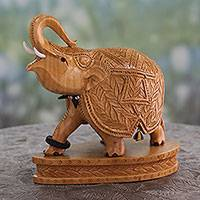Wood figurine, 'Stately Elephant' - Collectible Indian Elephant Figurine Wood Sculpture