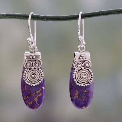 Sterling silver dangle earring, 'Purple Enigma' - Fair Trade Purple Turquoise and Sterling Silver Earrings