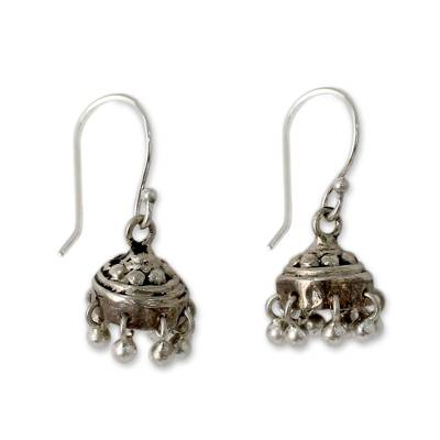 Sterling silver dangle earrings, 'Traditional Grace' - Traditional Style Indian Earrings Crafted in Sterling Silver