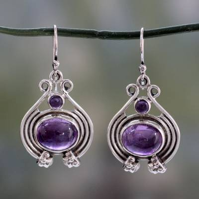 Amethyst and pearl dangle earrings, 'Twilight Glow' - Unique Amethyst, Pearl and Sterling Silver Earrings