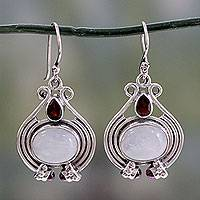 Rainbow moonstone and garnet dangle earrings, 'Mysterious Mist' - Handmade Rainbow Moonstone and Garnet Earrings