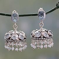 Blue topaz dangle earrings, 'Azure Jhumki' - Sterling Silver and Blue Topaz Indian Style Earrings