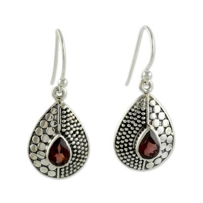 Sterling Silver and Garnet Dangle Earrings from India