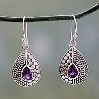 Amethyst dangle earrings, 'Purple Fusion' - Original Design Amethyst Earrings Set in Sterling Silver