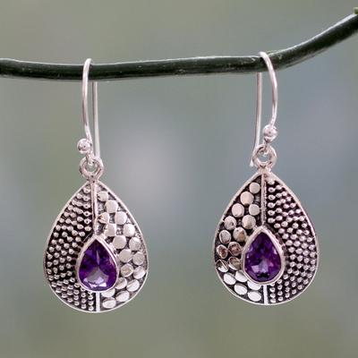 Amethyst dangle earrings, 'Purple Fusion' - Original Design Amethyst Earrings Set in Sterling Silver