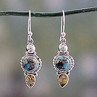 Citrine dangle earrings, 'Summer Sunset' - Hand Crafted Citrine and Sterling Silver Dangle Earrings