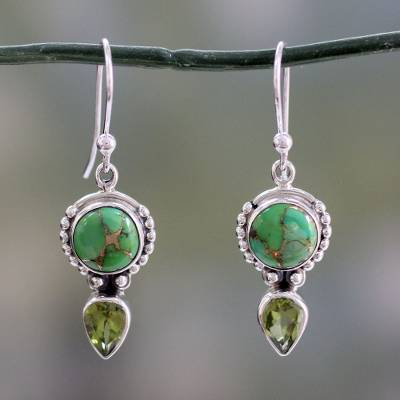 Peridot dangle earrings, Spring Green