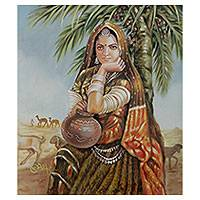 'Rajasthani Lady' - Oil on Canvas Painting of Indian Woman in Desert Scene